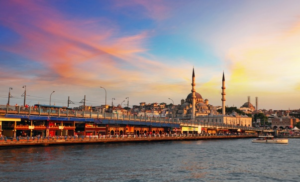 Istanbul at a dramatic sunset with sun
